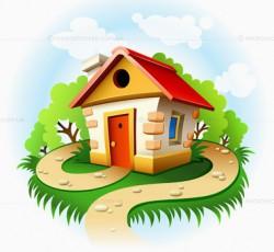 Сказочный домик Сказочный домик. Сказочный домик в лесу с тропинкой - купить векторный рисунок Автор: LoopAll Продажа фотографий