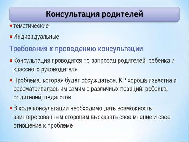 тематические Индивидуальные Требования к проведению консультации Консультация...