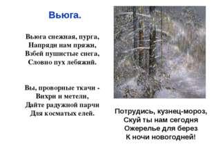 Вьюга снежная, пурга, Напряди нам пряжи, Взбей пушистые снега, Словно пух ле