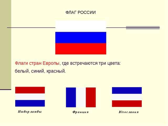 Флаги стран Европы, где встречаются три цвета: белый, синий, красный. ФЛАГ Р...