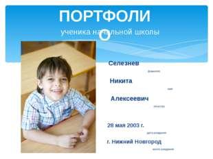ученика начальной школы Селезнев фамилия Никита имя Алексеевич отчество 28 ма