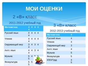 МОИ ОЦЕНКИ 2 «В» класс 2011-2012 учебный год 3 «В» класс 2012-2013 учебный го