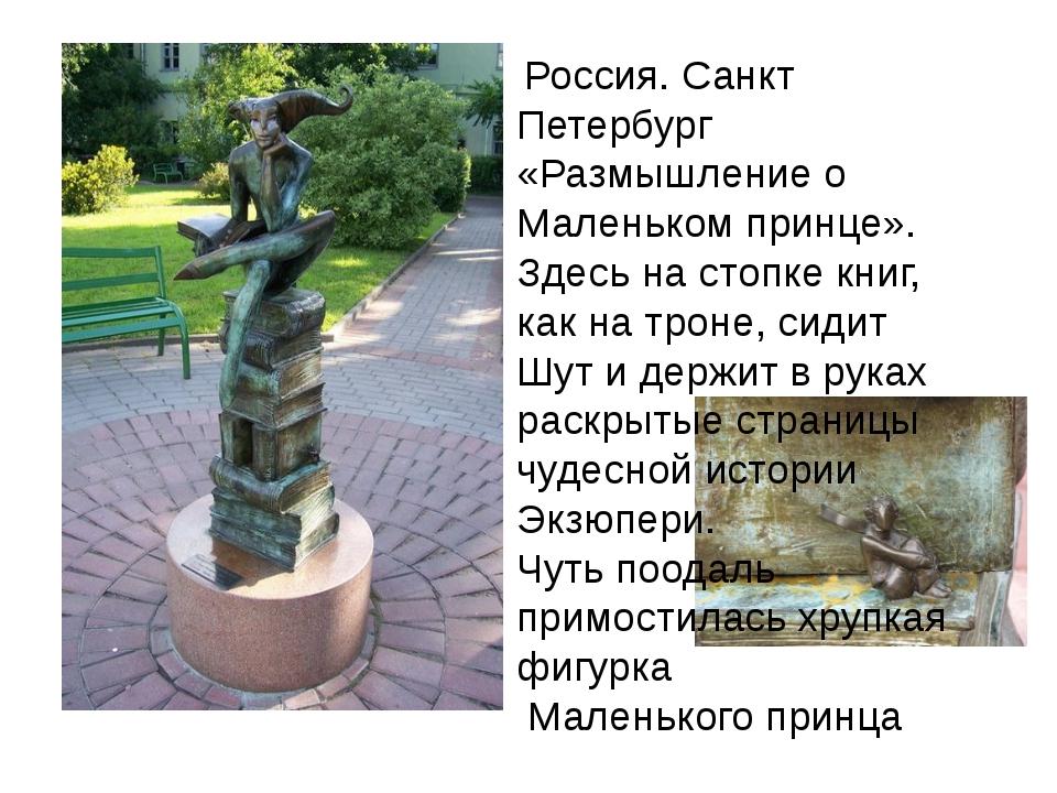 Россия. Санкт Петербург «Размышление о Маленьком принце». Здесь на стопке кн...
