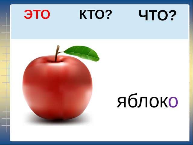 ЧТО? КТО? ЭТО яблоко