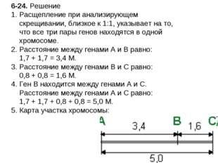 6-24. Решение Расщепление при анализирующем скрещивании, близкое к 1:1, указы