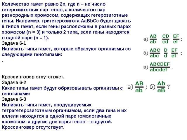 Количество гамет равно 2n, где n – не число гетерозиготных пар генов, а колич...