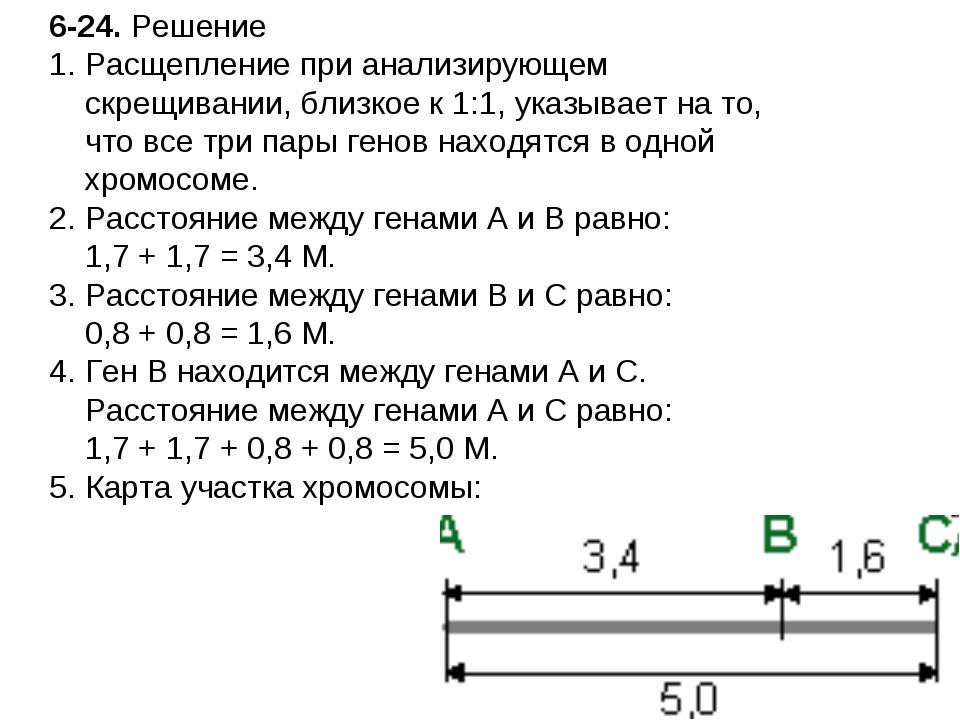 6-24. Решение Расщепление при анализирующем скрещивании, близкое к 1:1, указы...