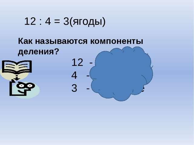 Как называются компоненты деления? 12 : 4 = 3(ягоды) 12 - делимое 4 - делител...