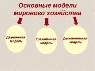Основные модели мирового хозяйства Двучленная модель Трехчленная модель Десят