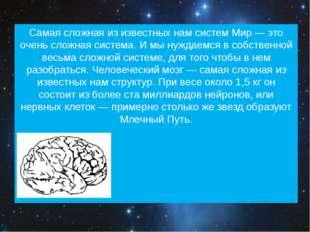 Самая сложная из известных нам систем Мир — это очень сложная система. И мы н