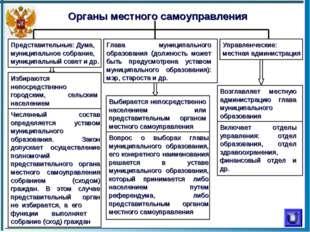 Органы местного самоуправления Представительные: Дума, муниципальное собрание