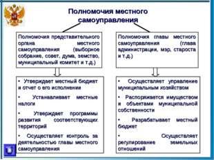 Полномочия местного самоуправления Полномочия представительного органа местно