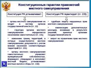 Конституционные гарантии правомочий местного самоуправления Конституция РФ ус