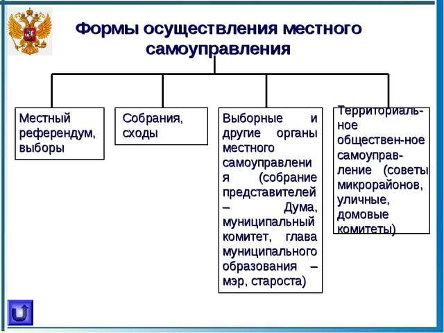 Формы осуществления местного самоуправления Местный референдум, выборы Собран...