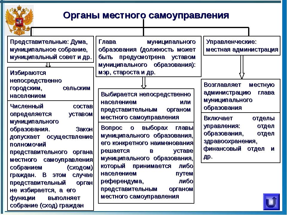 Органы местного самоуправления Представительные: Дума, муниципальное собрание...