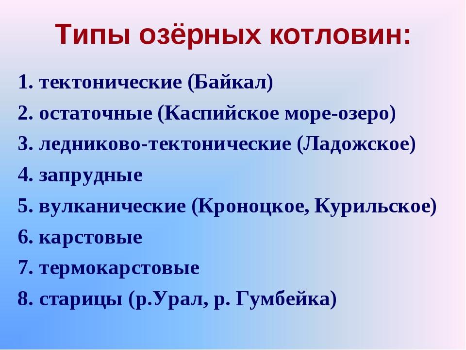 Типы озёрных котловин: 1. тектонические (Байкал) 2. остаточные (Каспийское мо...