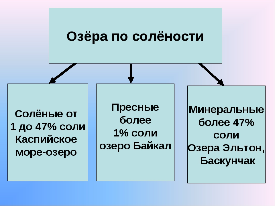 Озёра по солёности Солёные от 1 до 47% соли Каспийское море-озеро Пресные бол...