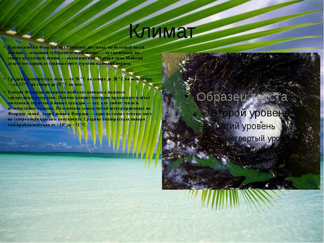 Климат Климатически Флорида представляет две зоны: на большей части климат —...