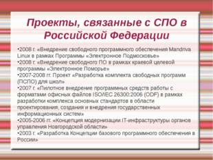 Проекты, связанные с СПО в Российской Федерации 2008 г. «Внедрение свободного