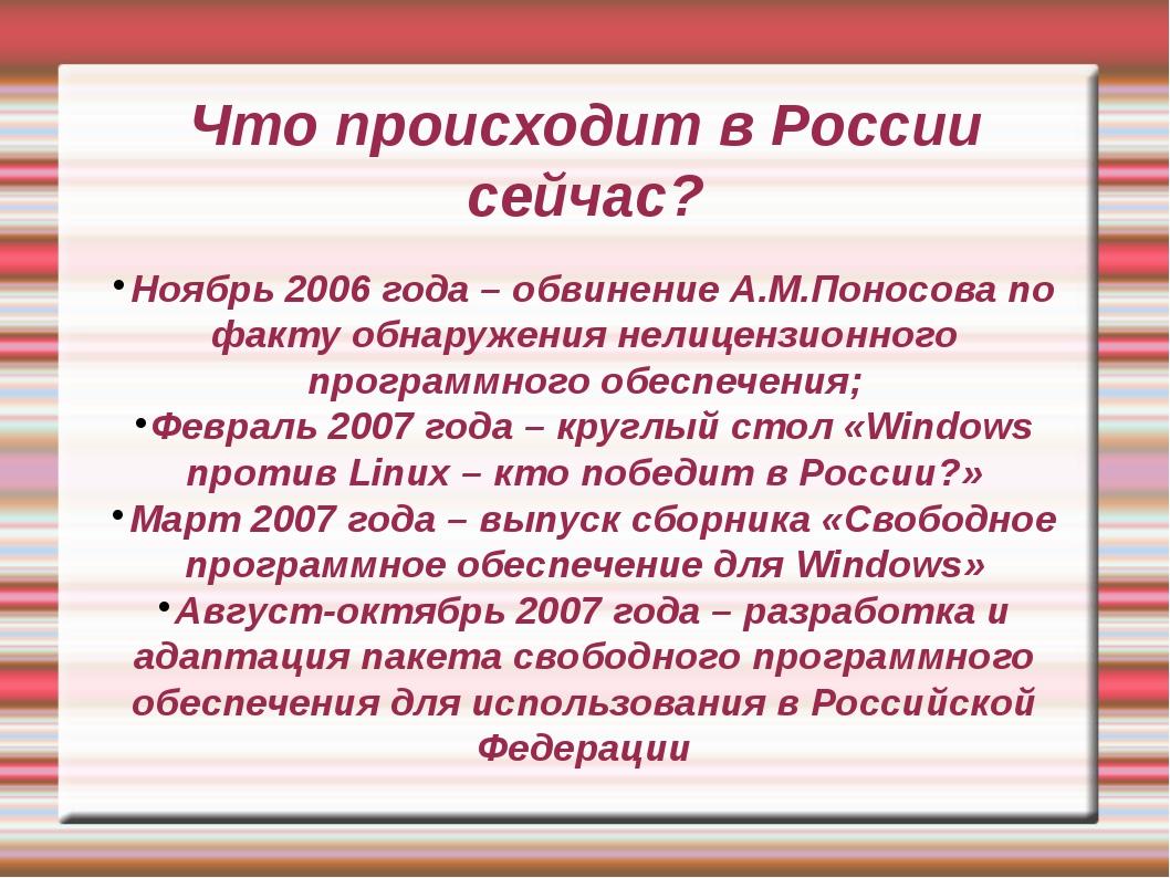 Что происходит в России сейчас? Ноябрь 2006 года – обвинение А.М.Поносова по...