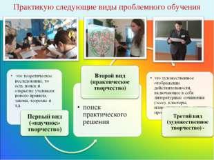 Практикую следующие виды проблемного обучения