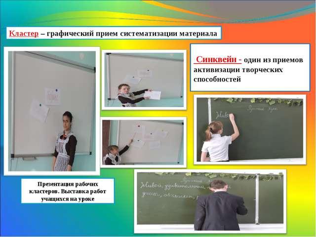 Презентация рабочих кластеров. Выставка работ учащихся на уроке Кластер – гра...