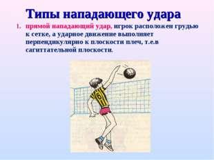 Типы нападающего удара прямой нападающий удар, игрок расположен грудью к сетк