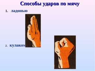 Способы ударов по мячу ладонью кулаком