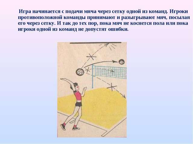 Игра начинается с подачи мяча через сетку одной из команд. Игроки противопол...
