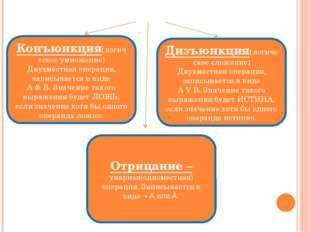 Логические операции Конъюнкция(логическое умножение) Двухместная операция, за