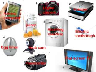 A B C D E F G H I J Palmtop computer Digital camera scanner juicer Washing ma