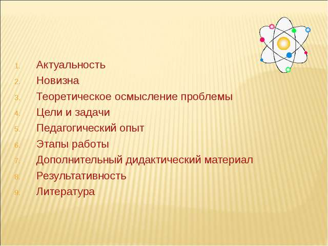 Актуальность Новизна Теоретическое осмысление проблемы Цели и задачи Педагоги...