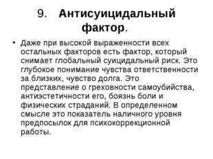 9.Антисуицидальный фактор. Даже при высокой выраженности всех остальных факт