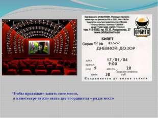 Чтобы правильно занять свое место, в кинотеатре нужно знать две координаты –