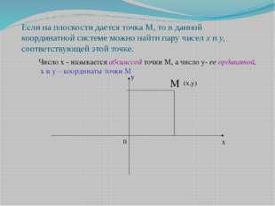Если на плоскости дается точка М, то в данной координатной системе можно найт