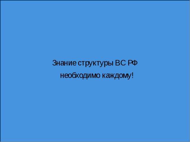 Знание структуры ВС РФ необходимо каждому!