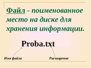 Файл - поименованное место на диске для хранения информации. Proba.txt Имя фа