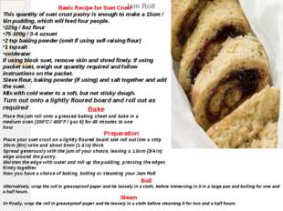 Jam Roll Basic Recipe for Suet Crust This quantity of suet crust pastry is en