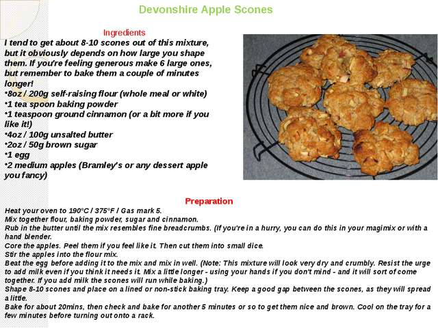 Devonshire Apple Scones Ingredients I tend to get about 8-10 scones out of th...
