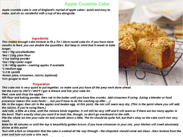 Apple Crumble Cake Apple crumble cake is one of England's myriad of apple cak...