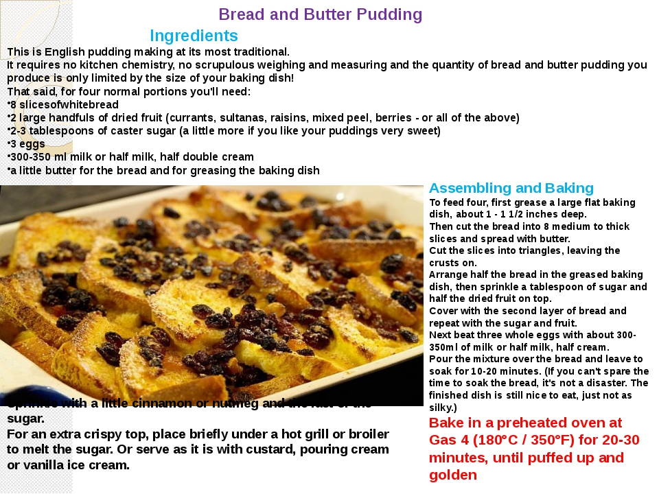 Bread and Butter Pudding Ingredients This is English pudding making at its mo...