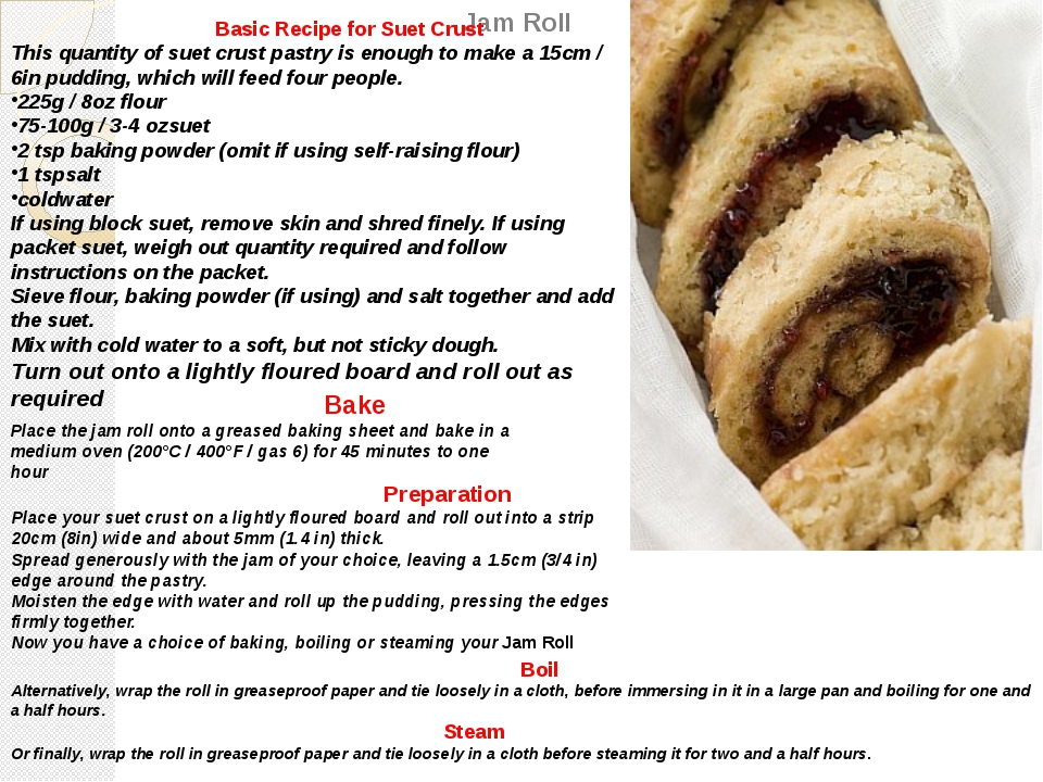 Jam Roll Basic Recipe for Suet Crust This quantity of suet crust pastry is en...