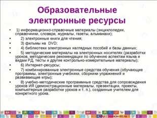 Образовательные электронные ресурсы 1) информационно-справочные материалы (эн