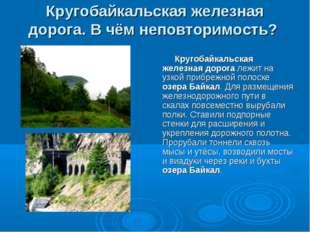 Кругобайкальская железная дорога. В чём неповторимость? Кругобайкальская желе