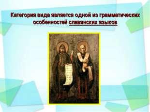 Категория вида является одной из грамматических особенностей славянских языков