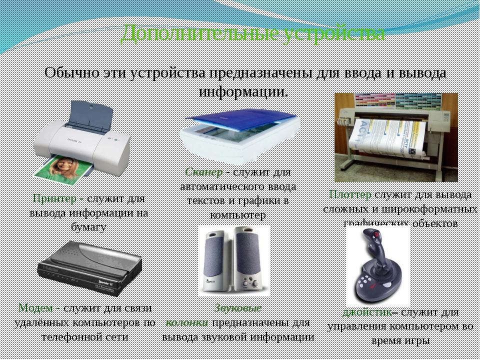 Дополнительные устройства Обычно эти устройства предназначены для ввода и выв...