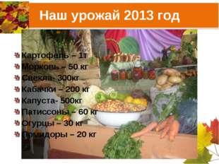 Наш урожай 2013 год Картофель – 1т Морковь – 50 кг Свекла- 300кг Кабачки – 20