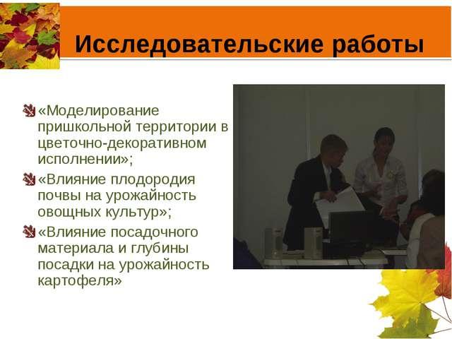 Исследовательские работы «Моделирование пришкольной территории в цветочно-дек...