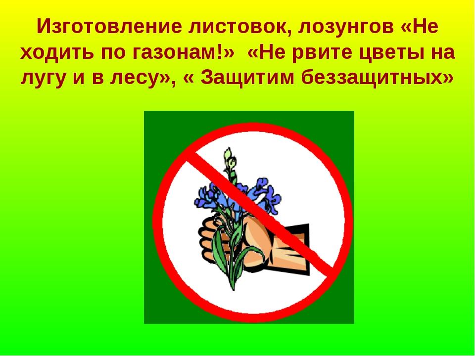 Изготовление листовок, лозунгов «Не ходить по газонам!» «Не рвите цветы на лу...