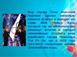 Мэр города Сочи Анатолий Пахомов сделал несколько взмахов флагом и передал ег